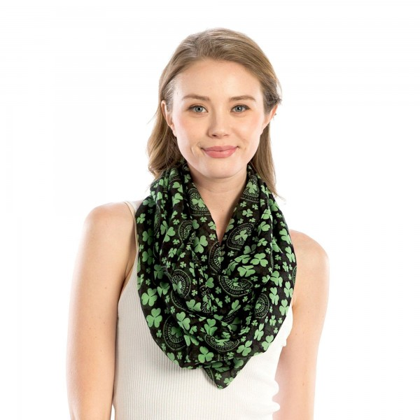 "Women's Lightweight St. Patricks Day Print Infinity Scarf.  - Approximately 28"" W x 35"" L  - 100% Polyester"