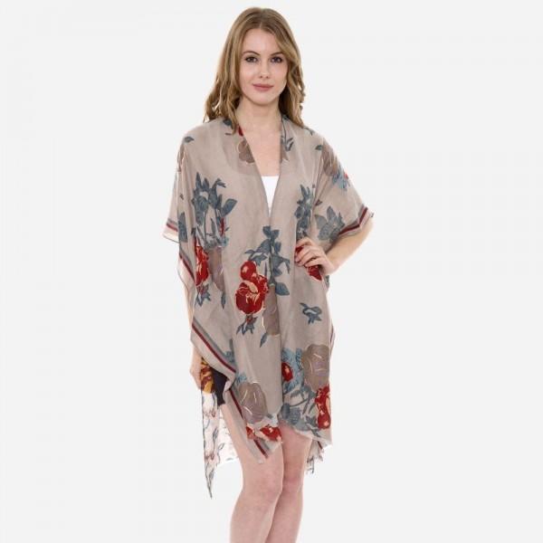 Wholesale women s Lightweight Floral Print Kimono One fits most L Viscose Cottto
