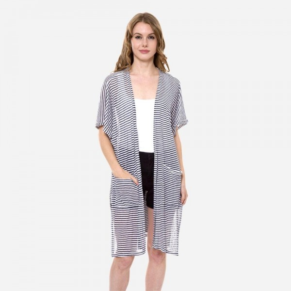 Wholesale women s Lightweight Pinstripe Kimono Front Pockets Front Pockets One f