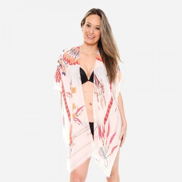 Wholesale women s Soft Lightweight Gypsy Feather Print Kimono One fits most L Vi