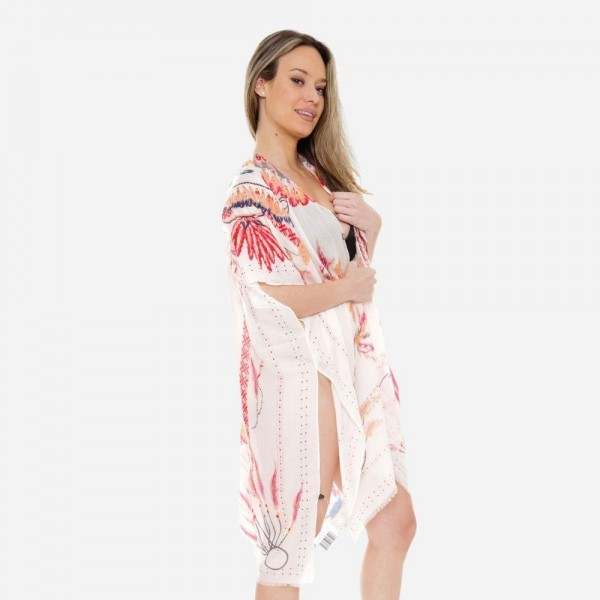 "Women's Soft Lightweight Gypsy Feather Print Kimono.  - One size fits most 0-14 - Approximately 37"" L - 100% Viscose"