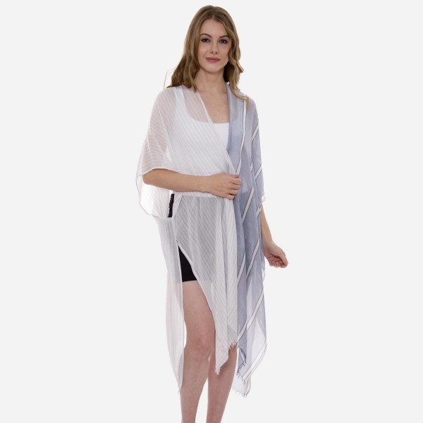 Wholesale women s Lightweight Sheer Stripe Kimono One fits most L Viscose