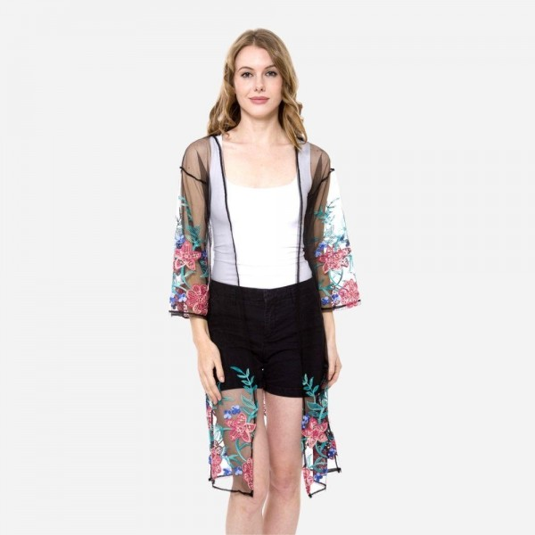 "Women's Lightweight Floral Embroidered Mesh Kimono.  - One size fits most 0-14 - Approximately 37"" L - 50% Cotton / 50% Polyester"