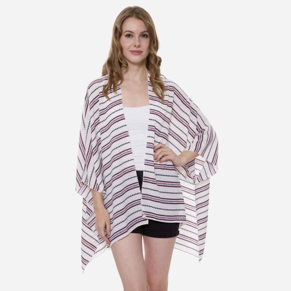 Wholesale women s Short Lightweight Aztec Stripe Kimono One fits most L Polyeste