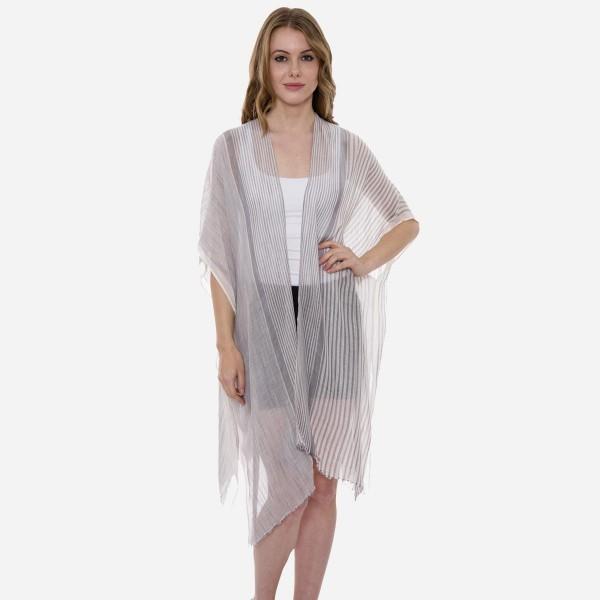 Wholesale women s Lightweight Sheer Pinstripe Kimono One fits most L Viscose