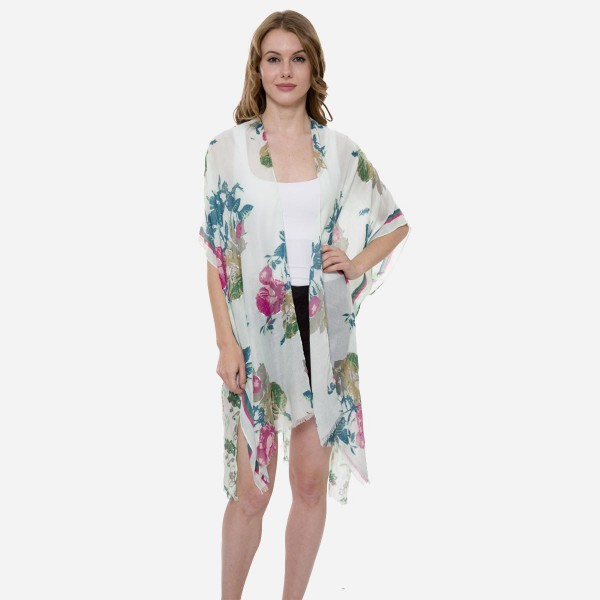 Wholesale women s Lightweight Floral Sheer Kimono One fits most L Viscose Cotton