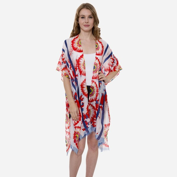 "Women's Lightweight Floral Print Kimono.  - One size fits most 0-14 - Approximately 37"" L - 80% Viscose / 20% Cotton"