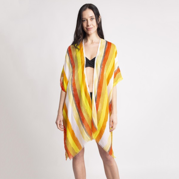"Women's Lightweight Distressed Stripe Kimono.  - One size fits most 0-14 - Approximately 37"" L - 80% Viscose / 20% Cotton"