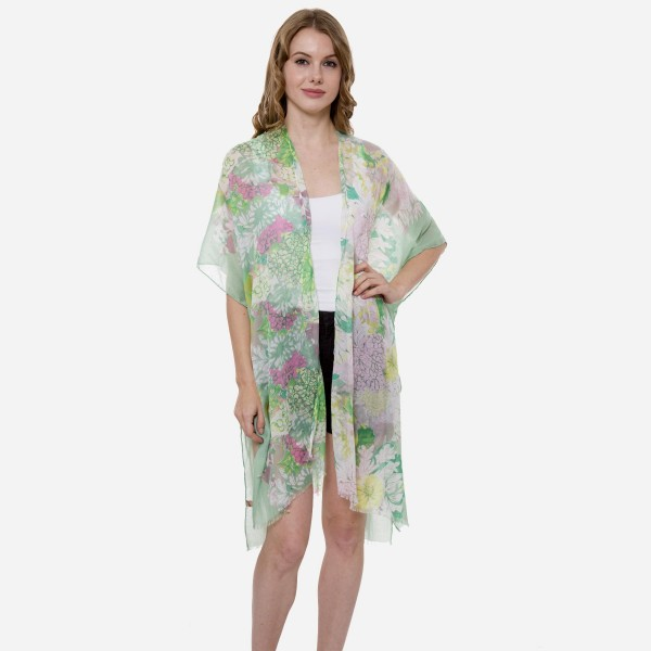 Wholesale women s Lightweight Multi Floral Print Kimono One fits most L Viscose