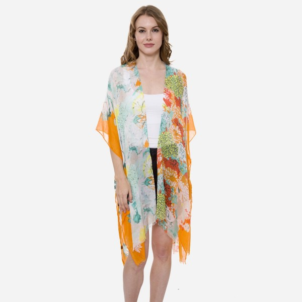 Wholesale women s Lightweight Multi Floral Print Kimono One fits most L Viscose
