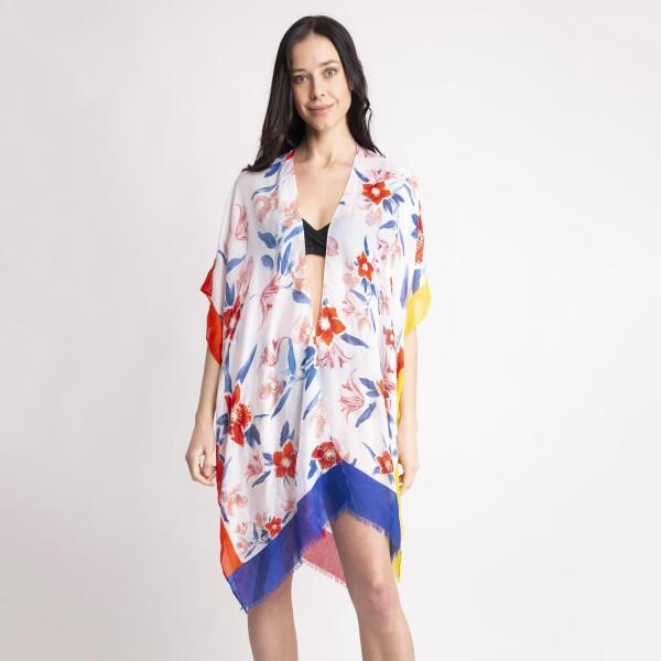 Wholesale women s Lightweight Floral Color Block Kimono One fits most L Viscose