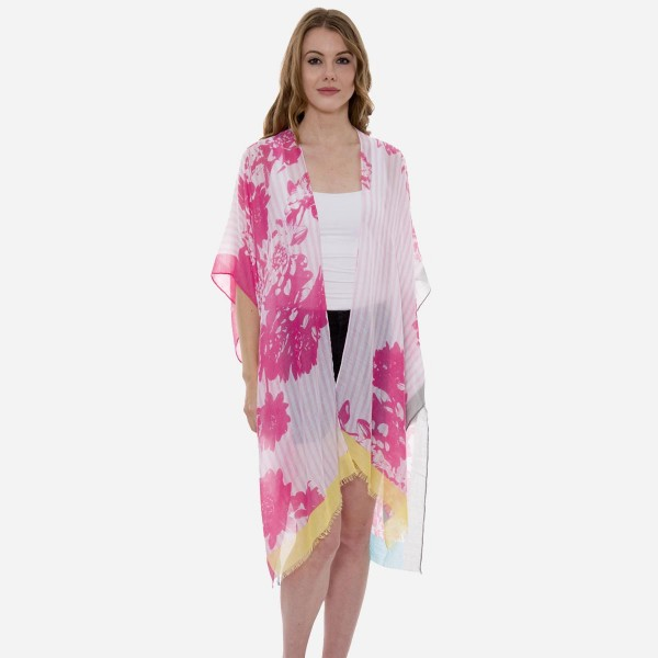 Wholesale women s Lightweight Floral Striped Kimono One fits most L Viscose Cott