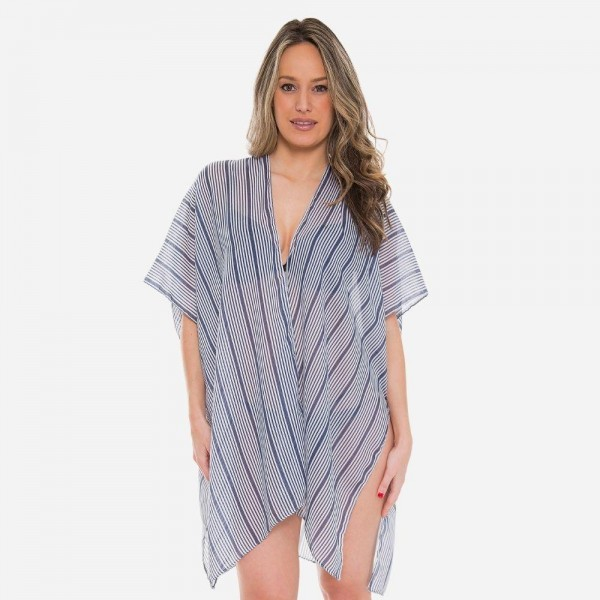 "Women's Lightweight Sheer Navy Pinstripe Kimono.  - One size fits most 0-14 - Approximately 37"" L  - 100% Viscose"