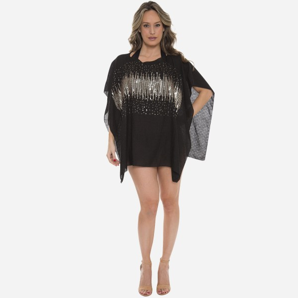"""Women's Lightweight Glitter Sequins Cover Up Top.  - One size fits most 0-14 - Approximately 30"""" L - 100% Viscose"""