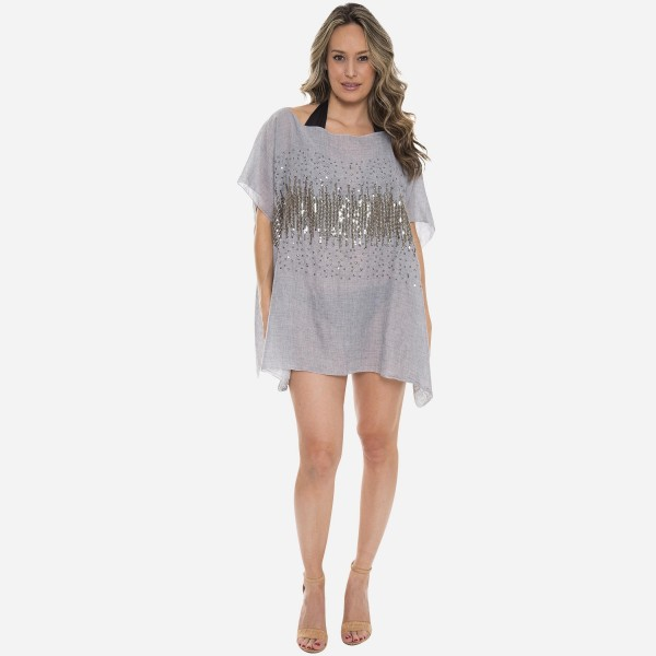 "Women's Lightweight Glitter Sequins Cover Up Top.  - One size fits most 0-14 - Approximately 30"" L - 100% Viscose"