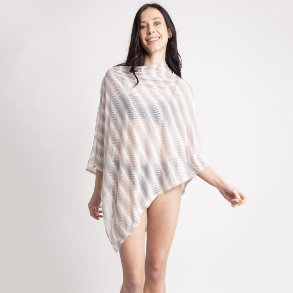 """Women's Ultra Lightweight Striped Poncho.  - One size fits most 0-14 - Approximately 30"""" L - 100% Viscose"""