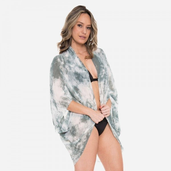 Women's Lightweight Tie-Dye Cocoon Kimono.  - One size fits most 0-14 - 100% Viscose