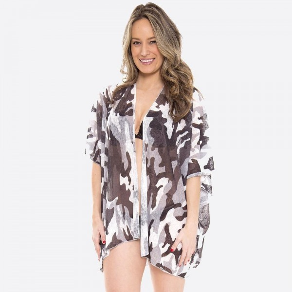 "Women's Grey Camouflage Jersey Knit Kimono.  - One size fits most 0-14 - Approximately 35"" L - 100% Polyester"
