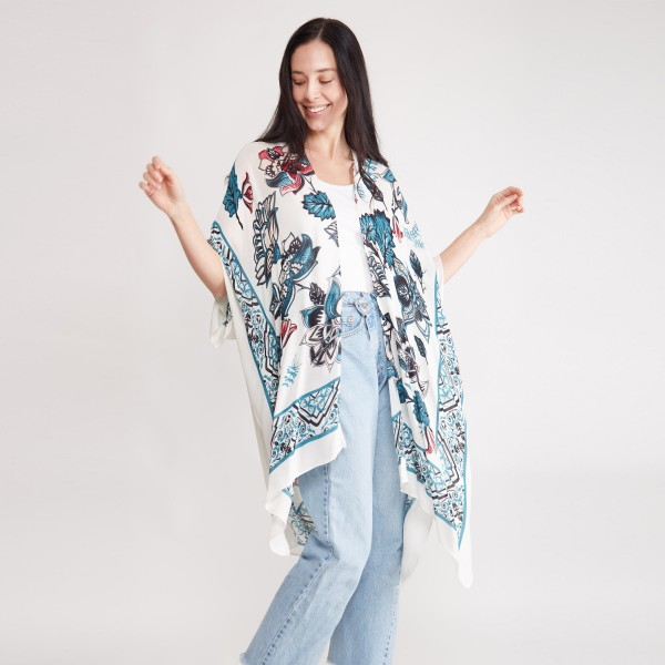 "Women's Lightweight Floral Damask Print Kimono.  - One size fits most 0-14 - Approximately 37"" in Length - 100% Viscose"