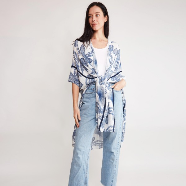 """Women's Lightweight Blue Tropical Leaf Print Kimono.  - One size fits most 0-14 - Approximately 37"""" in Length - 100% Viscose"""