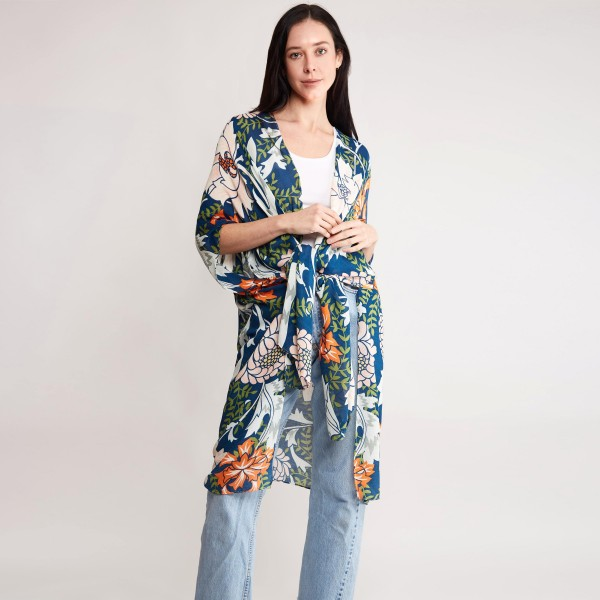 """Women's Lightweight Navy-Green Floral Print Kimono.  - One size fits most 0-14 - Approximately 37"""" in Length - 100% Viscose"""