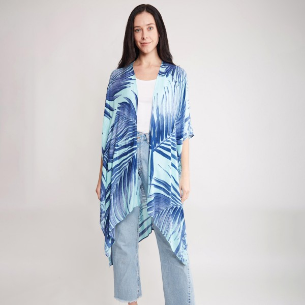 "Women's Lightweight Enlarged Tropical Leaf Print Kimono.  - One size fits most 0-14 - Approximately 37"" in Length - 100% Viscose"