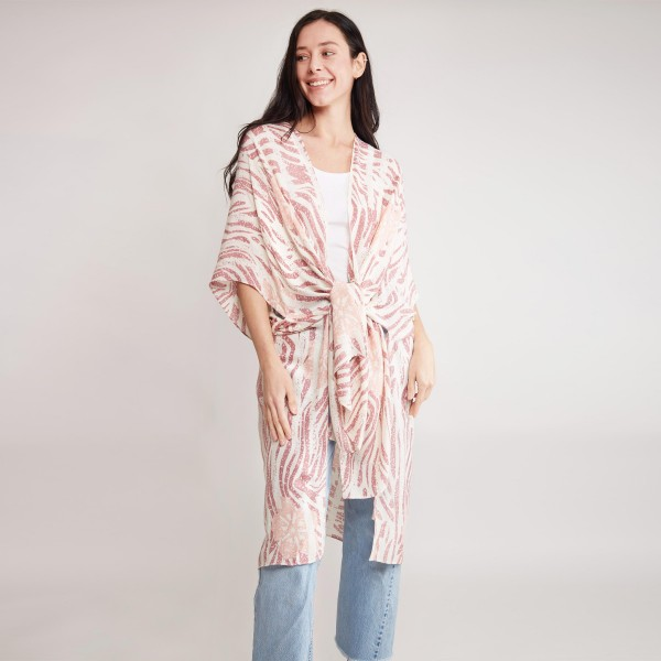 """Women's Lightweight Zebra Hibiscus Print Kimono.  - One size fits most 0-14 - Approximately 37"""" in Length - 100% Viscose"""