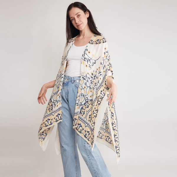 """Women's Lightweight Beige Damask Print Kimono.  - One size fits most 0-14 - Approximately 37"""" in Length - 100% Viscose"""