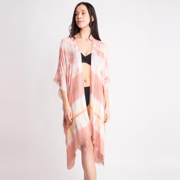 "Lightweight Tie Dye Kimono.   - 100% Viscose - One Size Fits Most  - Approximately 38"" L"