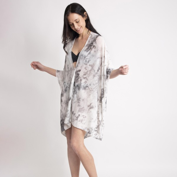 "Lightweight Tie Dye Kimono.   - 100% Polyester - One Size Fits Most - Approximately 32"" L"
