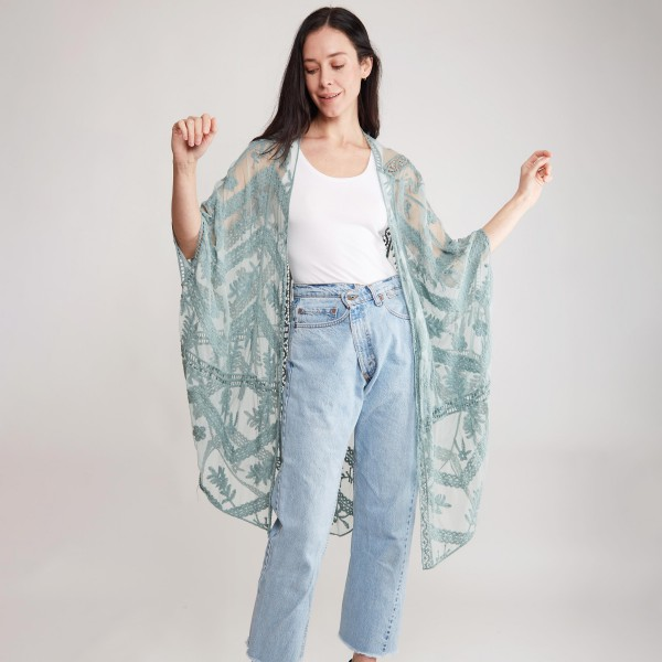 "Sheer Lace Kimono.   - 100% Viscose  - One Size Fits Most  - Approximately 42"" L  - Hand Wash Cold Only"