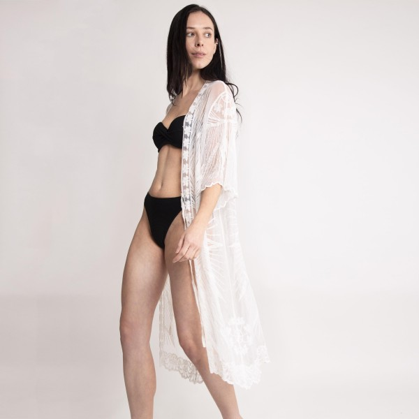 "Long Lace Kimono Featuring a Front Tie Closure.   - 100% Viscose - Approximately 44"" L  - One Size Fits Most"