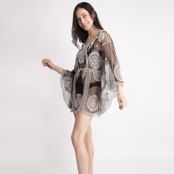 Sheer Lace Top Featuring Draw String Front Tie Around Waist.   - 100% Viscose - One Size Fits Most  - Hand Wash Cold Only