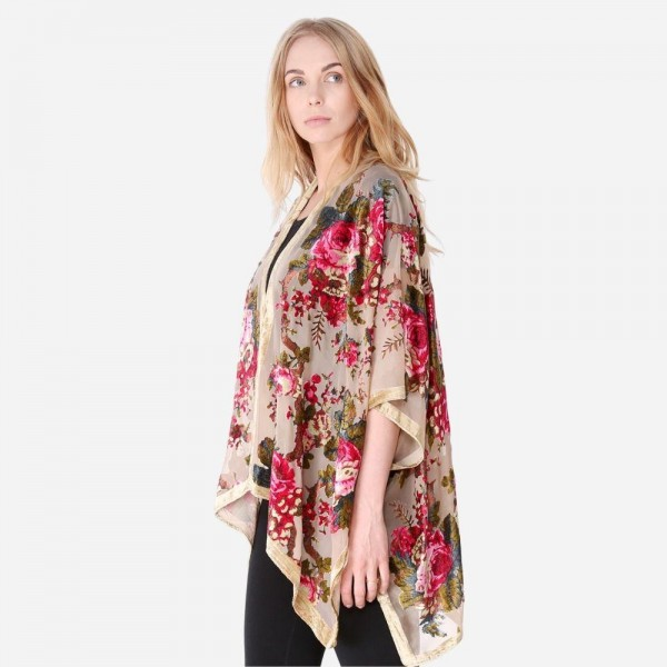 "Women's Lightweight Floral Velour Mesh Kimono.  - One size fits most 0-14 - Approximately 30"" L - 50% Nylon / 50% Rayon"