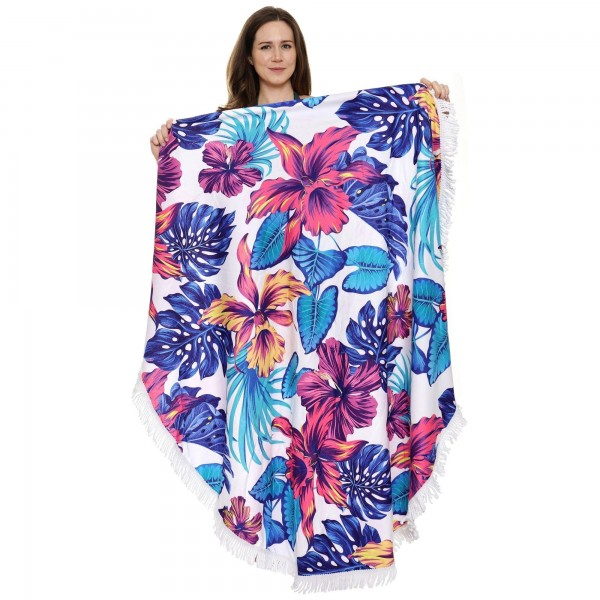 "Tropical Floral Luxury Round Beach Towel.  - Approximately 59"" in Diameter - Fits Two People  - 100% Cotton"