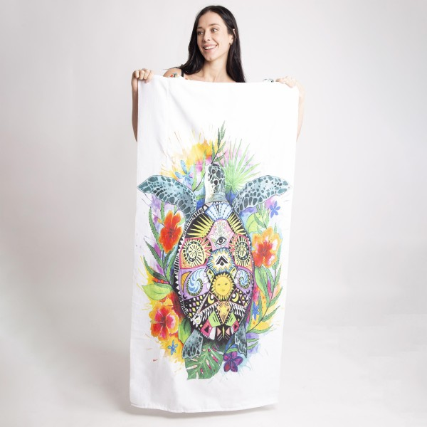 """Two-in-One Tote Bag that Unfolds Into a Beach Towel.   - 70% Cotton, 30% Polyester  - Approximately 56"""" x 27"""" - Magnetic Snap Closure"""