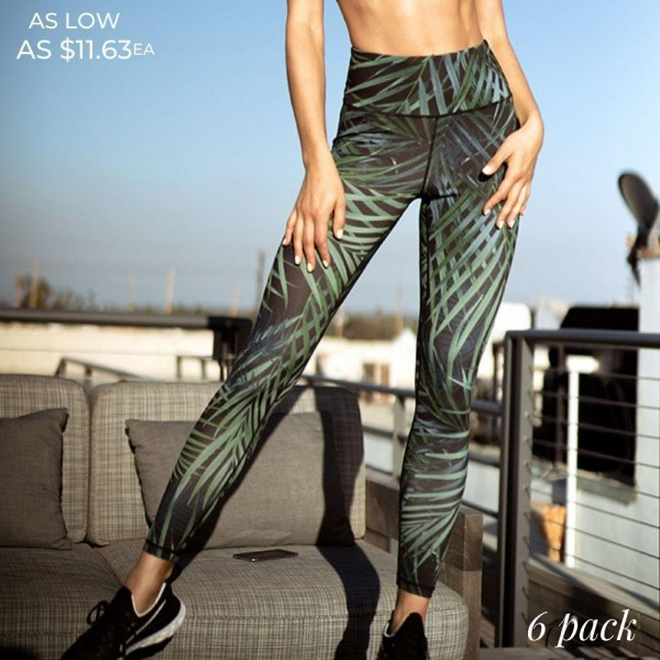 Palm Leaf Leggings Featuring a High-Rise Fit On Soft, 4-Way Stretch Fabric.  • Palm leaf print • High rise waistband • Hidden pocket on waist for phone, keys & cash • Fits like a glove • 4-way stretch for more movement • Full length design • Squat Proof • Flat lock seams prevent chafing • Triangular Cotton Gusset Lining • Pull on/off styling  Composition: 46% Polyester, 41% Nylon, 13% Spandex  Pack Breakdown: 6pcs/pack. 2S: 2M: 2L