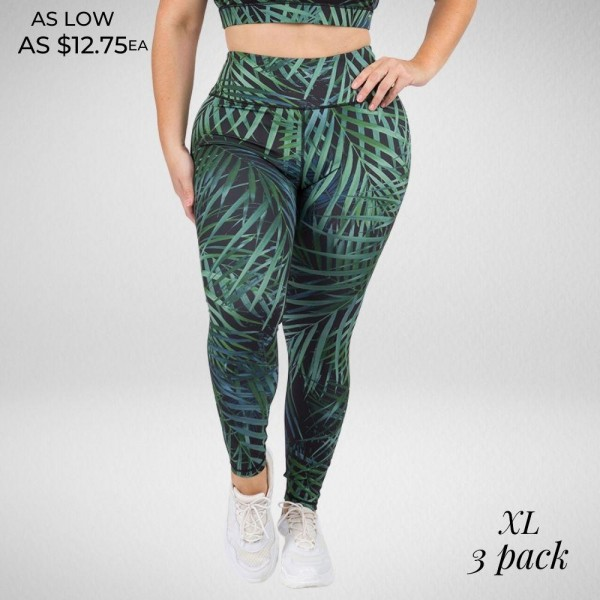 Palm Leaf Leggings Featuring a High-Rise Fit On Soft, 4-Way Stretch Fabric.  • High rise elasticized waistband • Cool palm tree leaf print • 4-way stretch for a move-with-you feel • Flatlock seams prevents chafing • Full length design • Triangle crotch gusset eliminates camel toe • Moisture wick fabric • Second skin fits like a glove • Pull on/off styling  Composition: 46% Polyester, 41% Nylon, 13% Spandex  Pack Breakdown: 3pcs/pack. XL:3