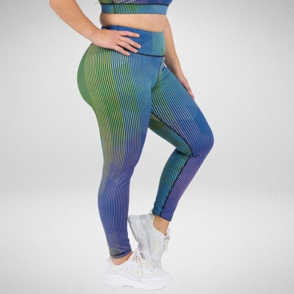 Plus Size Ultra-Flattering Striped Geo Print Leggings  • Colorful graphic print throughout • High rise waistband • Hidden pocket on waist for phone, keys & cash • Fits like a glove • 4-way stretch for more movement • Full length design • Squat Proof • Flat lock seams prevent chafing • Triangular Cotton Gusset Lining • Pull on/off styling  Composition: 46% Polyester, 41% Nylon, 13% Spandex  Pack Breakdown: 3pcs/pack. XL