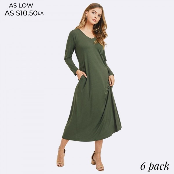 Classic Maxi Dress Featuring a V-Neckline and Two Stylish Pockets  • Long sleeves • V-neck • Long sleeves • Two side pockets to keep your hands warm • Soft and stretchy fabric • Flowy silhouette • Floor length hem • Pull on styling  Content: 95% Polyester, 5% Spandex  Pack Breakdown: 6pcs/pack. 2S: 2M: 2L