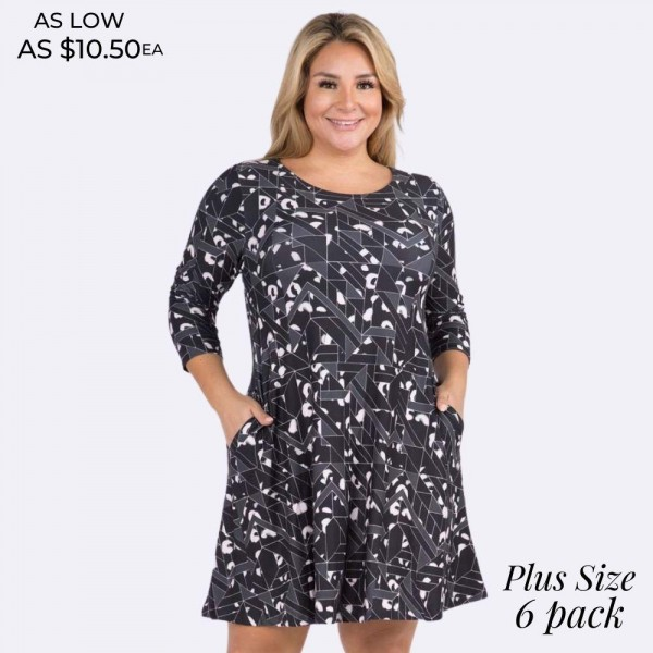 Women's Plus Size Geometric Cheetah Swing Dress  • 3/4 length sleeves and round neckline • Geometric cheetah print • Two side pockets keep your hands warm • Swing a-line silhouette • Knee-length hem • Soft, stretchy and comfortable fabric • Pullover styling  Content: 90% Polyester, 10% Spandex  Pack Breakdown: 6pcs/pack. 2XL: 2XXL: 2XXXL