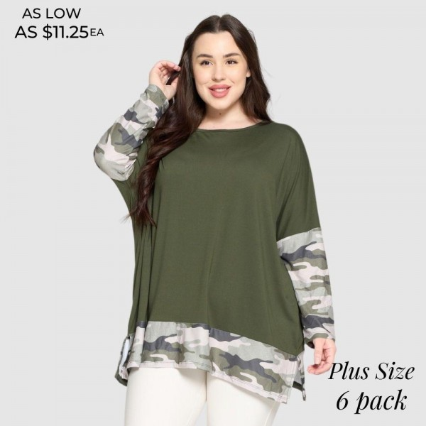 Plus Size Camo Printed Detail Top Featuring Dolman Sleeves and an Oversized Silhouette.   • Crew neckline • Dolman sleeves • Floral detailing throughout • Oversized fit • Soft and comfortable fabric with stretch • Pullover styling • 95 % Polyester, 5% Spandex  Pack Breakdown: 6pcs/pack. 2 XL / 2 XXL / 2 XXXL