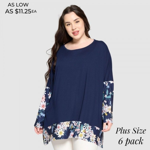 Plus Size Floral Printed Detail Top Featuring Dolman Sleeves and an Oversized Silhouette.   • Crew neckline • Dolman sleeves • Floral detailing throughout • Oversized fit • Soft and comfortable fabric with stretch • Pullover styling • 95 % Polyester, 5% Spandex  Pack Breakdown: 6pcs/pack. 2 XL / 2 XXL / 2 XXXL