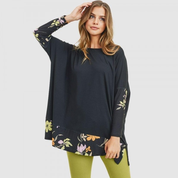 Floral Printed Detail Top Featuring Dolman Sleeves and an Oversized Silhouette.   • Crew neckline • Dolman sleeves • Floral detailing throughout • Oversized fit • Soft and comfortable fabric with stretch • Pullover styling • 95 % Polyester, 5% Spandex  Pack Breakdown: 6pcs/pack. 2S: 2M: 2L