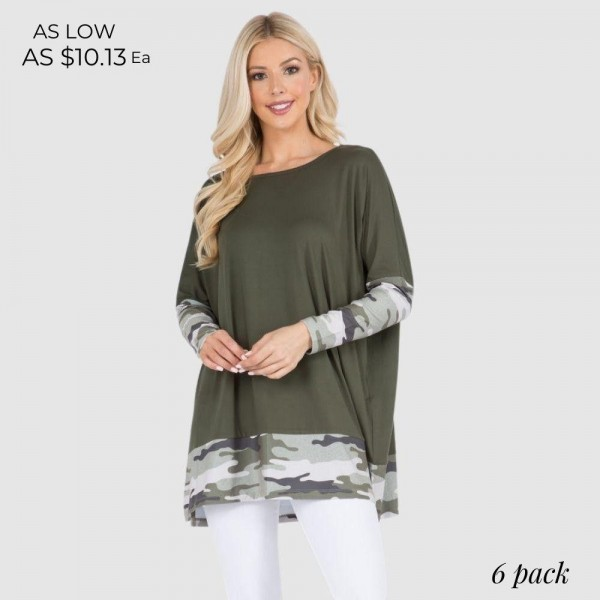 Camo Printed Detail Top Featuring Dolman Sleeves and an Oversized Silhouette.   • Crew neckline • Dolman sleeves • Floral detailing throughout • Oversized fit • Soft and comfortable fabric with stretch • Pullover styling • 95 % Polyester, 5% Spandex  Pack Breakdown: 6pcs/pack. 2S: 2M: 2L
