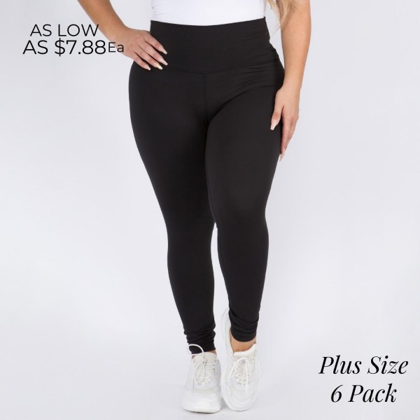 """Women's Plus Size 5"""" High Rise Casual Leggings.  • Wide, high rise waistband lies flat against your skin • Interior waistband pocket can hold keys, cards, cash • Flattering seam detail • Peach Skin • Long skinny leg design • Comfortable and easy pull-up style • Solid color, Stretchy fabrication • Fits like a Glove • Perfect for layering or wearing alone • Imported  - 6 Pair Per Pack - Sizes: 3-L/XL & 3-XL/XXL - Inseam approximately 28"""" L - 90% Polyester, 10% Spandex"""