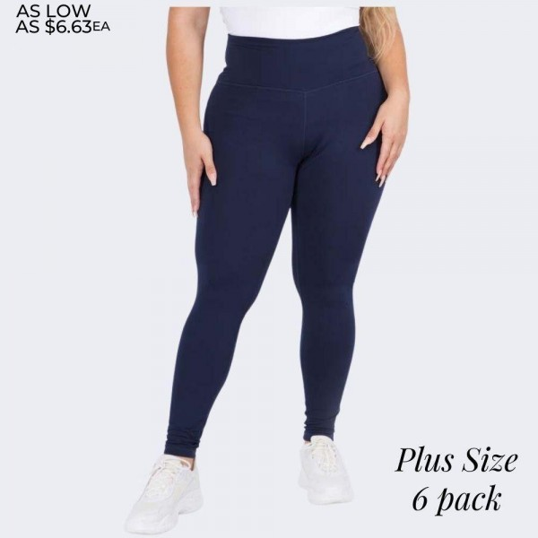 "Women's Plus Size 5"" High Rise Casual Leggings.  • Wide, high rise waistband lies flat against your skin • Interior waistband pocket can hold keys, cards, cash • Flattering seam detail • Peach Skin • Long skinny leg design • Comfortable and easy pull-up style • Solid color, Stretchy fabrication • Fits like a Glove • Perfect for layering or wearing alone • Imported  - 6 Pair Per Pack - Sizes: 3-L/XL & 3-XL/XXL - Inseam approximately 28"" L - 90% Polyester, 10% Spandex"