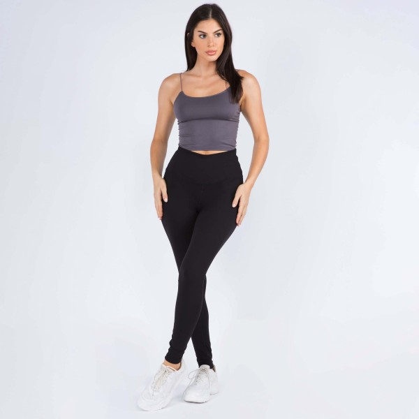 """Women's 5"""" High Rise Casual Leggings.  • Wide, high rise waistband lies flat against your skin • Interior waistband pocket can hold keys, cards, cash • Flattering seam detail • Peach Skin • Long skinny leg design • Comfortable and easy pull-up style • Solid color, Stretchy fabrication • Fits like a Glove • Perfect for layering or wearing alone • Imported  - 6 Pair Per Pack - Sizes: 3-S/M & 3-M/L - Inseam approximately 28"""" L - 90% Polyester, 10% Spandex"""