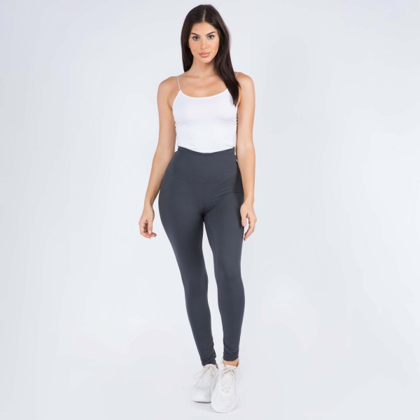 "Women's 5"" High Rise Casual Leggings.  • Wide, high rise waistband lies flat against your skin • Interior waistband pocket can hold keys, cards, cash • Flattering seam detail • Peach Skin • Long skinny leg design • Comfortable and easy pull-up style • Solid color, Stretchy fabrication • Fits like a Glove • Perfect for layering or wearing alone • Imported  - 6 Pair Per Pack - Sizes: 3-S/M & 3-M/L - Inseam approximately 28"" L - 90% Polyester, 10% Spandex"