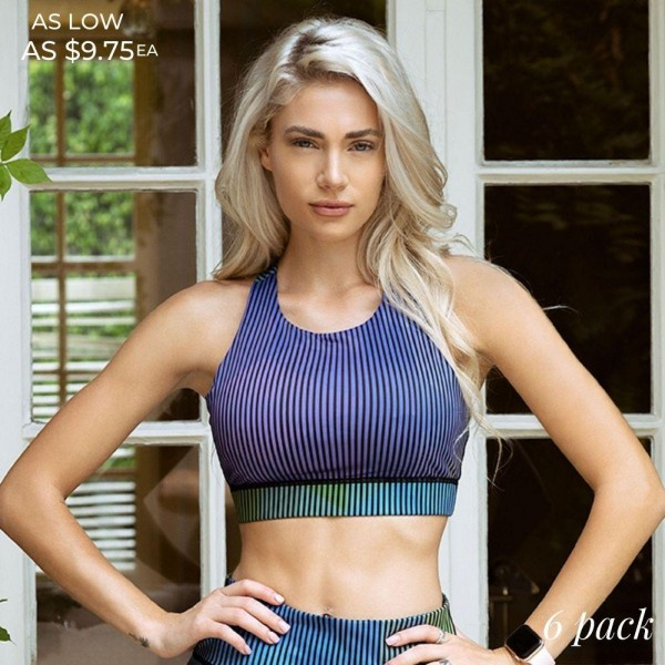 Women's Active Geometric Pinstripe Athletic Sports Bra. (6 pack)  • High neckline • Colorful graphic design • Scoop neckline • Reinforced elastic band • Two removable pads provide support & shaping • Racerback design • Moisture wick fabric • 4-way stretch for a move-with-you feel • Perfect for low to high impact workouts • Pull Over Style  - 6 Sports Bra Per Pack - Sizes: 2-S / 2-M / 2-L  - Body: 46% Polyester, 41% Nylon, 13% Spandex - Lining: 80% Nylon, 20% Spandex, 75% Nylon, 25% Spandex